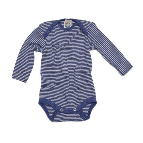 Cosilana Baby-Body, 70% Wolle, 30% Seide, für Baby Gr. 1 Monate, Bleu - Blau Geringelt