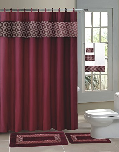 GorgeousHome New Designs 15PC Printed Banded Bathroom Rubber Backing Rug Bath Mats Set With Fabric Matching Shower Curtain & Hooks (FRESCO BURGUNDY)