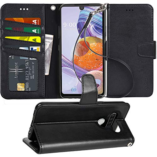 Arae Case for LG Stylo 6 PU Leather Wallet Case Cover [Stand Feature] with Wrist Strap and [4-Slots] ID&Credit Cards Pocket for LG Stylo 6 - Black