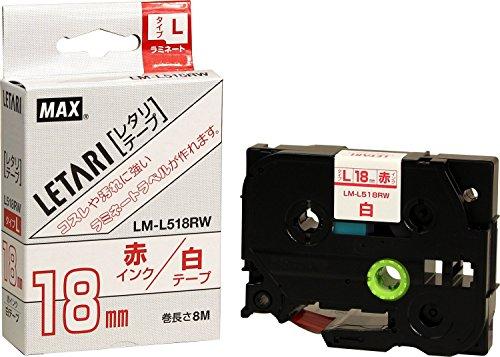 マックス ビーポップミニ テープカセット 18mm幅 白に赤文字 LM-L518RW