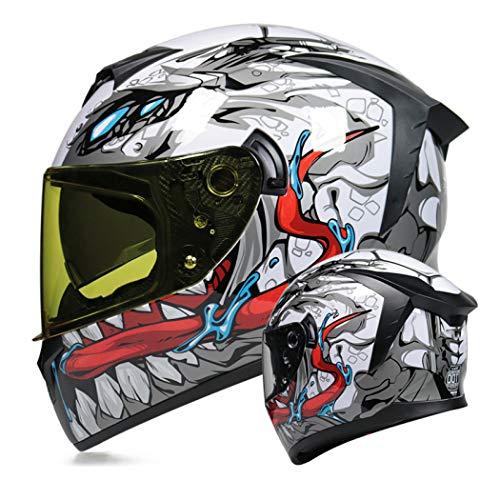 Men and Women Full Face Helmet Double Lens Winter Motorcycle Helmet Motorcycle Dual Visor Flip Up Modular Full Face Helmet Four Seasons Unisex Adult DOT Approved,Venom (Night Vision),XL