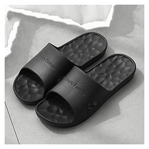 LDH Zapatillas para Hombres, Casa De Verano Color Sólido Fondo Suave Baño De Baño Baño Zapatos para Hombre Zapatos De Playa Ducha Gimnasio Zapatillas Negro (Size : 44-45)
