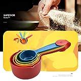 Kongqiabona-UK 5 Piezas/Set Color Plástico Taza de medición de Cocina Mango ergonómico Cuchara de azúcar para Hornear Cuchara de medición para el hogar