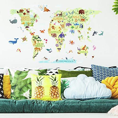 RoomMates Kids World Map - Adhesivos de pared gigantes para niños