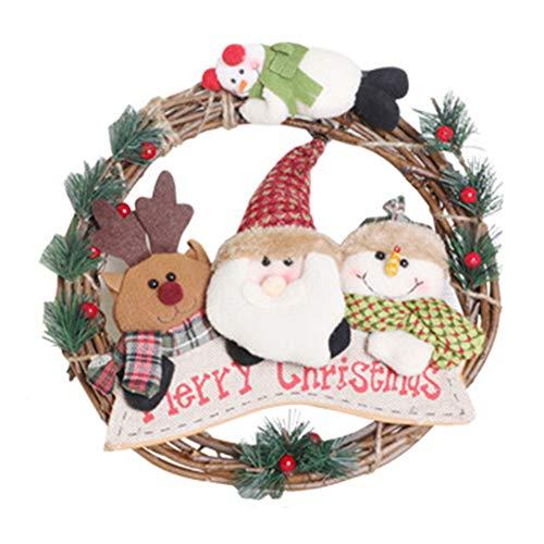Jeerbly - Ghirlanda natalizia da appendere alla parete, decorazione per porta, Babbo Natale, alce e pupazzo di neve