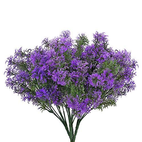NAHUAA 4 Pcs Künstliche Pflanzen Kunstpflanzen Balkon Kunstblumen Strauß Plastikpflanzen Lila Unechte Blumen Deko für Balkon Zimmer Drinnen Draußen Garten Topf Vase Fensterbank Hochzeit