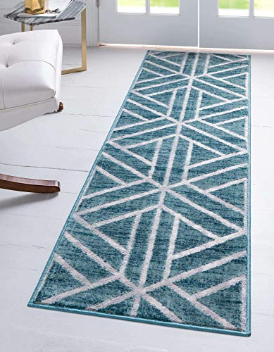 Unique Loom Matrix Trellis Collection Modern Triangular Lattice Blue/Ivory Runner Rug (2' 0 x 6' 0)
