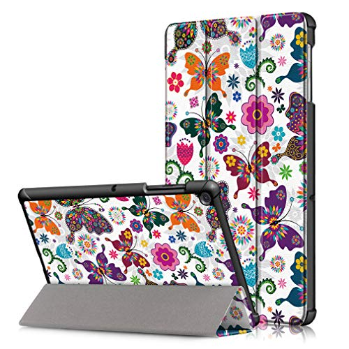 LMFULM Case for Samsung Galaxy Tab S5e / SM-T720 / T725 (10.5 Inch) PU Tri-Fold Smart Case With Auto Sleep/Wake Colorful Butterfly Pattern Stand Case Flip Cover for Galaxy Tab S5e