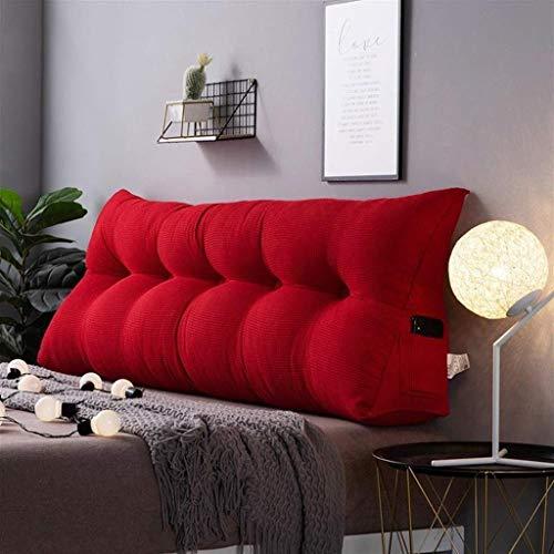 LFOZ Almohada de apoyo de posicionamiento de respaldo, cojín de cuña triangular tapizado, almohada de lectura, suave, agradable al tacto, ergonómicamente diseñado (color: rojo, tamaño: 100 x 50 cm)