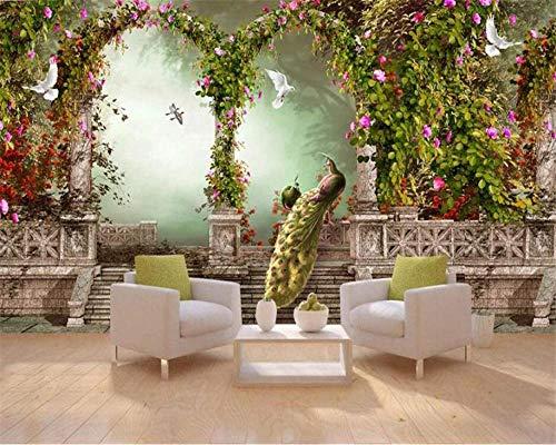 3D Wandbild Tapete Großes Wandbild Traum Bogen Römische Säule Land Blume Pfau Ganze Familie Hintergrund-280X200cm