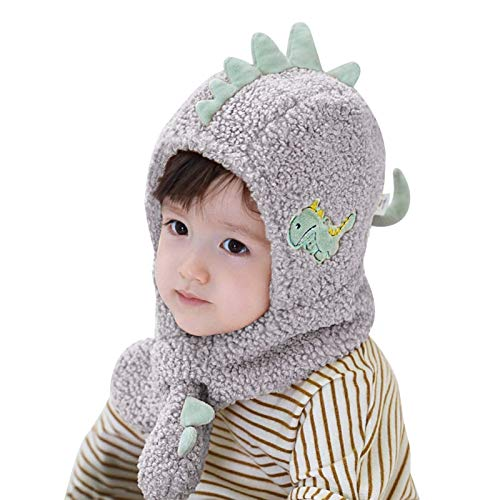 Sombrero gorra bebé gorro orejeras sombrero, niño niño niñas niños suave cálido brusco sombrero niños lindo dinosaurio invierno sombrero con dibujos animados bordado sombrero de punto (color: rosa, ta