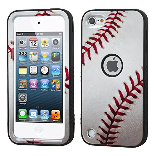 MYTURTLE iPod Touch 7th 6th 5th Generation Case Shockproof Hybrid Hard Silicone Shell Impact Cover with Screen Protector for iPod Touch 7 (2019), iPod Touch 5/6 (2015) (Ball Sports Baseball [Ver #2])