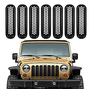 Front Grille Grill Mesh Inserts Black JK Front Grill Mesh Inserts Honeycomb Grille Inserts in Black Styling 7PCS Clip-in Grille Cover Deflector Guard Compatible with Jeep JK Wrangler & Unlimited 07-15