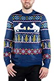 Fair Isle Polar Bear Party with Beer Navy Blue Ugly Christmas Sweater for Men Size L