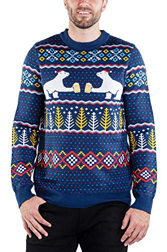 Men's Polar Bear Party Sweater - Funny Polar Bear Christmas Sweater for Guys: M Navy Blue