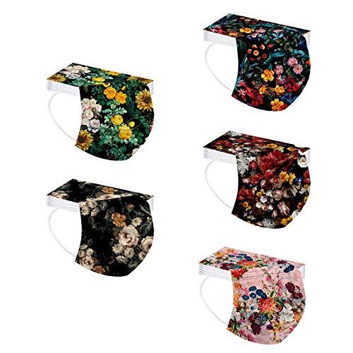 GULASISI Blumen Einweg Mundschutz mit Motiv Bunt, 3-lagig Einmal-Mund und Nasenschutz, Atmungsaktive Mode Bandana Face Halstuch für Männer Frauen