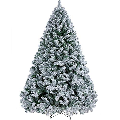 YAHEETECH 7.5ft Premium Unlit Fake Snow Flocked Hinged Artificial Christmas Spruce Full Tree with 1284 Branch White Snow Tips and Metal Stand