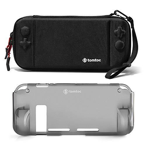 [Combo Set] tomtoc Funda Rígida Original con Carcasa Trasera de Agarre para Nintendo Switch Consola, Funda Protectora de Viaje con 10 Cartuchos de Juego, Doble Protección, Negro