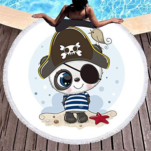 BCDJYFL 3D Toalla De Playa Panda Pirata 3D Playa Grande Absorbente Manta De Verano Resistente A Arena Viaje Super Ligero Piscina Natación Playa De Yoga.-Diámetro: 150Cm