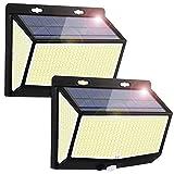 Luz Solar Exterior 468 LED Luces LED Solares Exteriores con Sensor de Movimiento y 3 Modos de Iluminación, 270º lluminación Foco Solar Exterior, Impermeable IP65 Lámpara Solar para Jardin, 2-Paquete