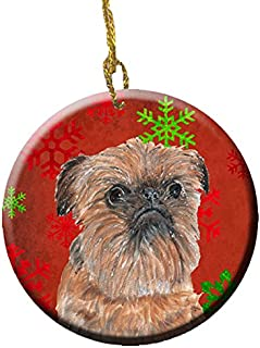 Caroline's Treasures Brussels Griffon Red Snowflakes Holiday Ceramic Ornament SC9586CO1