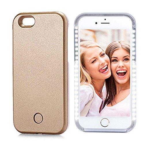 Custodia per iPhone con luci a LED per i selfie, dimmerabile e ricaricabile, include pellicola salvaschermo, plastica, Gold, iPhone 7 4.7inch