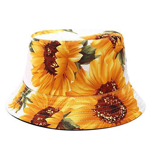 Giney Zonnebloem bedrukte hoed zonnebrandcrème emmer hoed dubbelzijdig dragen visser hoed vrouwelijke straat trend afdrukken wastafel hoed opvouwbare casual strand hoed