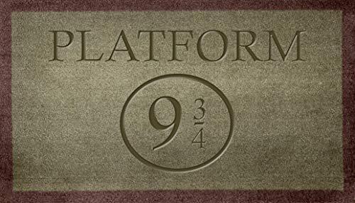 Platform 9 3/4 Harry Potter Fans Coir sintético Nylon gris claro marrón crema verde novedad alfombra de puerta (interior de roca))