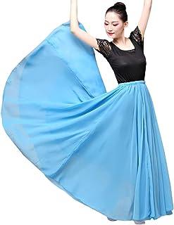 YM YOUMU Damen Chiffon Spanisch Flamenco Tanzen Schaukelröcke Tanzkleidung 2 Schichten Modern Tanzen Langes Kleid