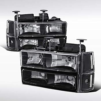 Autozensation for 94-98 GMC C10 Sierra Yukon Black Headlights+Bumper+Corner Lamps Pair