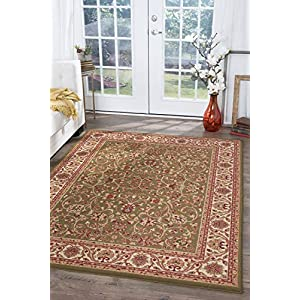 Ventura Transitional Oriental Green Rectangle Area Rug, 9′ x 12′