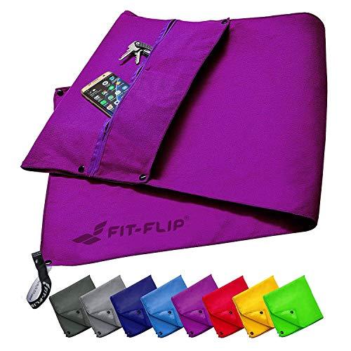 Fit-Flip Fitness Handtuch Set mit Reißverschluss Fach + Magnetclip + extra Sporthandtuch | zum Patent angemeldetes Multifunktionshandtuch, Mikrofaser Handtuch - Lila