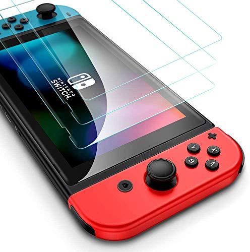 【最新进化版-3枚入り】Nintendo Switch用 保護 ガラスフィルム 撥水撥油 指紋防止 3Dラウンドエッジ加工 飛散防止貼付道具付 ピタ貼り 自己吸着 気泡防止 硬度9H 高透過率
