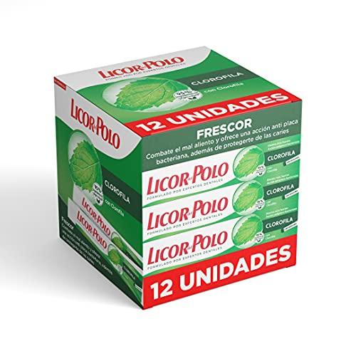 Licor Del Polo - Dentífrico Clorofila – 12uds de 75ml (900ml) – Pasta de dientes con sabor tradicional a Clorofila – Combate el mal aliento y proporciona frescor natural