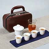 Servizio da tè da viaggio in porcellana bianca in stile cinese, borsa per il trasporto in ceramica, pubblicità per riunioni festive, LOGO personalizzato per regali aziendali-Beauty Cup-Glass Tea Mare