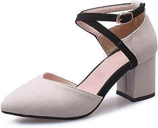 BalaMasa Womens ASL06347 Pu Block Heels