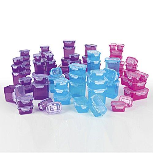 GOURMETmaxx Frischhaltedosen Klick-it 144 tlg. | Spülmaschinen- Mikrowellen- und Gefrierschrankgeeignet | Deckel BPA-frei mit 4-fach-Klick-Verschluss | Ineinander stapelbar [5 Größen blau, lila, pink]