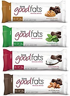Love Good Fats Bars (Keto Snacks for Keto Diet, Low Carb Snacks for Low Carb Diet, Low Net Carbs, Gluten Free, Non GMO) - VARIETY PACK, 12 bars x 39g each