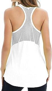 Women Workout Tank Top Yoga Shirts Mesh Tops Sleeveless Fitness Racerback Gym Top Activewear.JNINTH