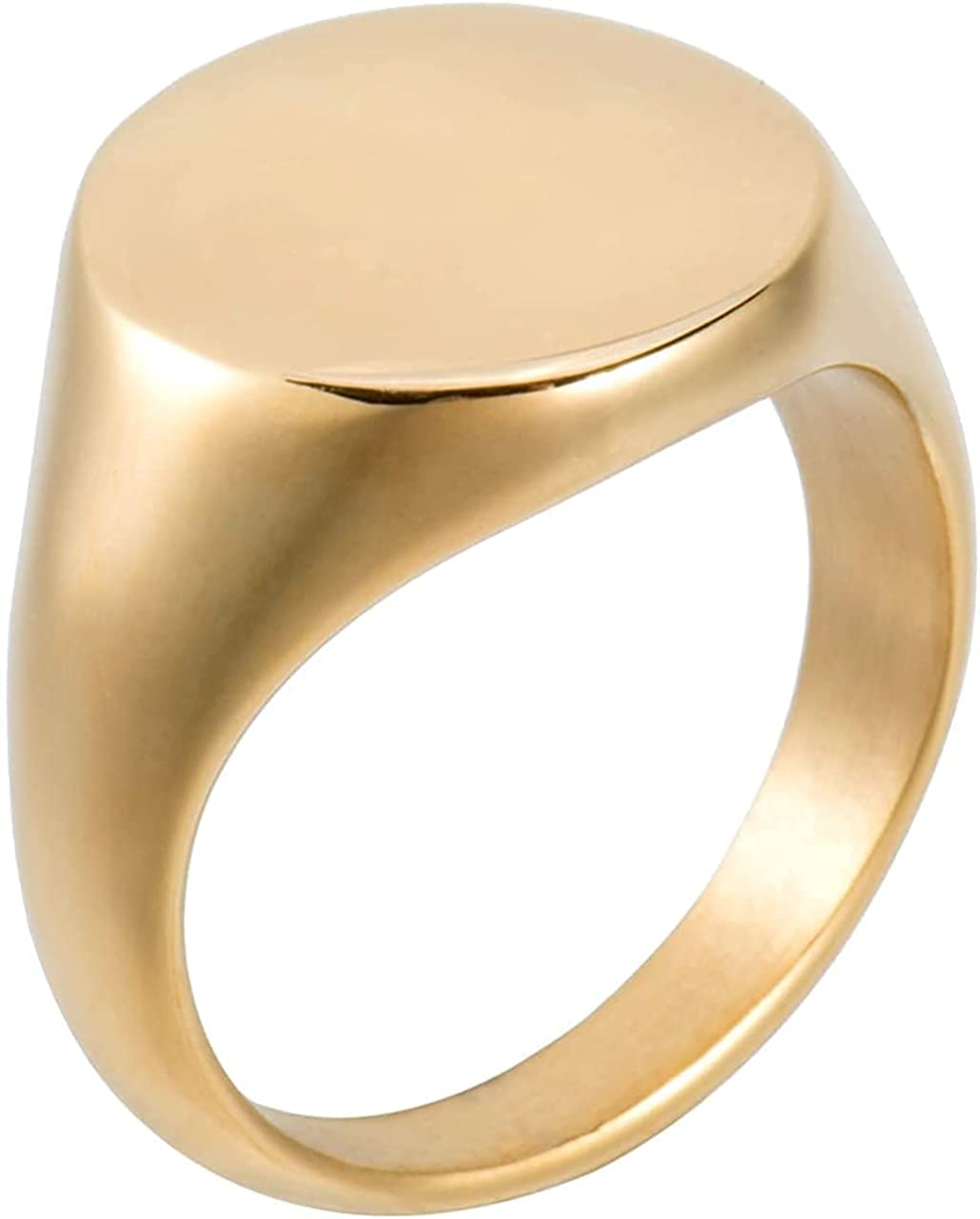 Aurelia Mae 18K Gold Plated Big Oval Signet Ring Chunky Gold Ring Womens Large Statement Chevalier Ring