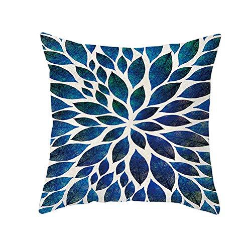 KnBoB Funda Almohada Poliéster 50 x 50 cm Flores Azul Estilo 6