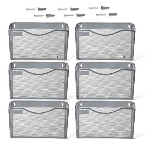 Kinwell 6 Pack Office Hanging Mesh Letter-Size Wall File Holder Organizer Single Vertical Collection Pocket Set Multi-Purpose Organizer Display Magazines Mail Sorter & Magazine Rack (Silver)