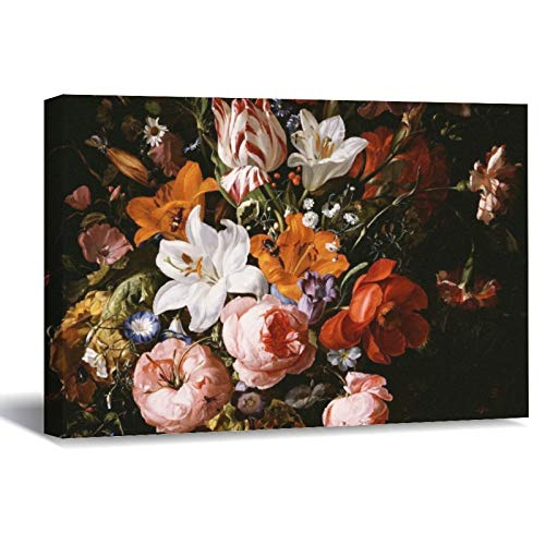 Rachel Ruysch Flowers In A Glass Vase Canvas Picture Painting Artwork Wall Art Poto Framed Canvas Prints for Bedroom Living Room Home Decoration, Ready to Hanging 16'x24'
