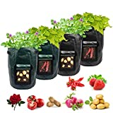 Potato Grow Bags,4-Pack 10 Gallon Carrot Grow Bag,Heavy Duty Aeration Fabric Pots Vegetable Grow Bags,Easy to Use Flower Non-Woven Growing Bag Planting Box Container Garden Indoor Outdoor