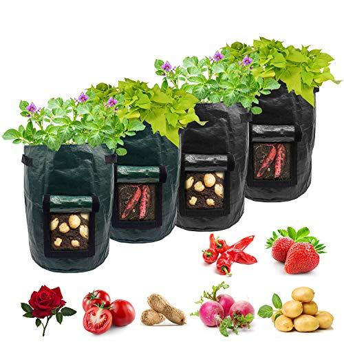 Potato Grow Bags,4-Pack 10 Gallon Carrot Grow Bag,Heavy Duty Aeration Fabric Pots Vegetable Grow...