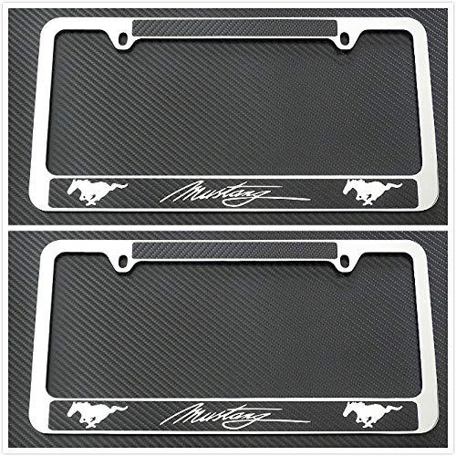 Tuesnut 2X Stainless Steel Mustang Black Carbon Fiber Vinyl License Plate Frame Covers Holder Screws Caps Rust Free