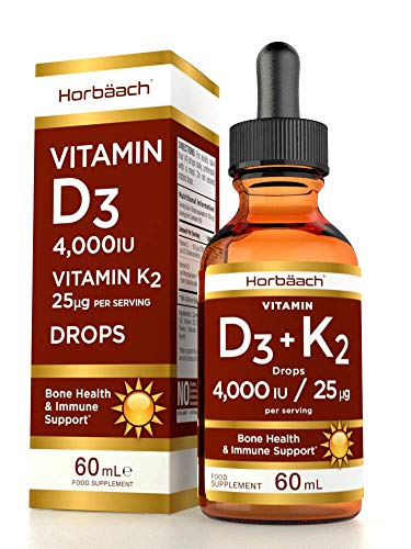 Vitamin D3 4000IU + K2 MK7 25ug | 60 ml Liquid Drops | High Strength Immune Support | & for Healthy Bones, Teeth & Muscles | Non-GMO, Gluten-Free & Vegetarian Supplement
