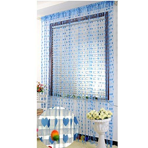 Fadenvorhang mit Herz-Motiv, Fenster-Teiler, Durchsichtig, Vorhänge – romantische Liebesherzen – Vorhang Spaghetti dichte Perlen Vorhänge für Türen, blau, Free Size