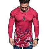 CLOOM Blusas Hombre Manga Larga Moda Impresión Chandal Hombre Estampado Floral Top Camisa Hombre Slim Fit Arriba Shirt para Deportes Fitness/Gimnasio/Ciclismo