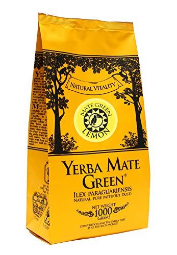 Yerba Mate Green Mate-Tee | LEMON | Brasilianischer Zitronen Mate Tee | Mate Tee mit Zitrus-Aroma | Starke Stimulation, Hohe Qualität | Yerba Mate-Tee mit Frucht | Zitrone, 1000 g